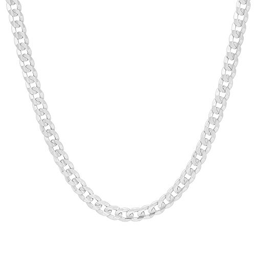 NYC Sterling Men's 5mm Solid Sterling Silver .925 Curb Link Chain Necklace, Made in Italy (28)