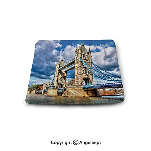 Square Seat Cushion for Bar Stool,London,Historical Tower Bridge on River London UK British Day Time International Heritage Decorative,Multicolor,Chair Pad Premium Comfort,Waterproof (Outdoor Waterproof Furniture For Cushions Uk)