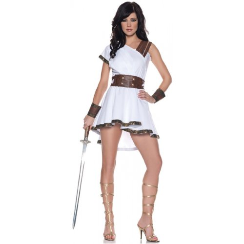 Women's Sexy Gladiator Costume - Olympia, White/Brown, Large - Sexy Greek Halloween Costumes