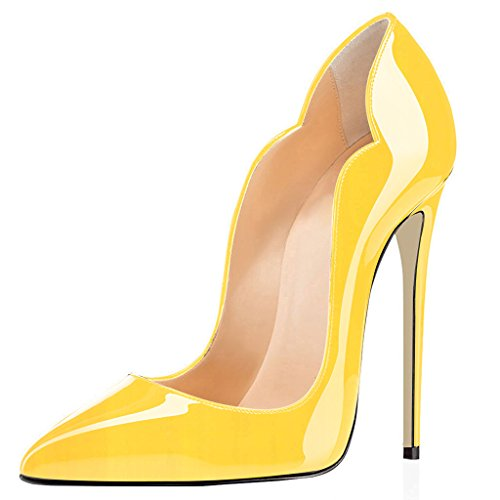 Court Stiletto Women Elegante Out Eldof Keltainen Pointed Cut Heels Pumput Yellow Classic Tikari Klassinen Korkokengät Pumps Toe Leikattu Kengät 12cm High Shoes Avokkaat Teräväkärkiset Naisten Z6q6pwPx