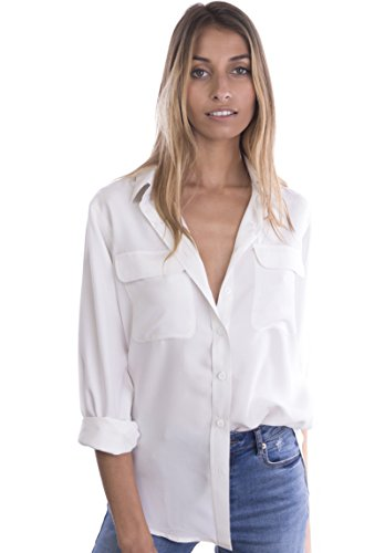 Plus Size Silk Blouse - CAMIXA Women's 100% Pure Washed Silk Casual Button-Down Shirt Simple Luxury Must L White