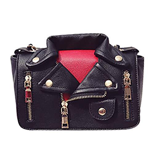 QZUnique Women's Motorcycle Jacket Shouldbag PU Leather Handbag Rivet Crossbody Satchel Bag, -