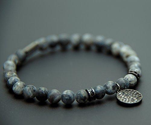 Charms Black Beaded (Unisex power healing labradotire gemstone beaded bracelet | Spiritual pendant YinYang charm beads bracelet (Black, Large (8.5