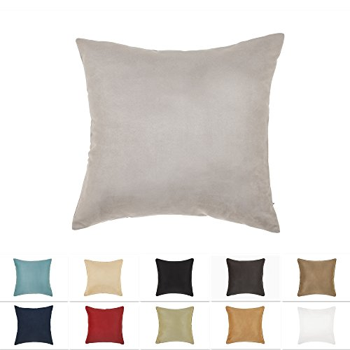 "DreamHome - Solid Faux Suede Pillow Cover/Sham (2-Pack 18"" x 18"", Gray)"