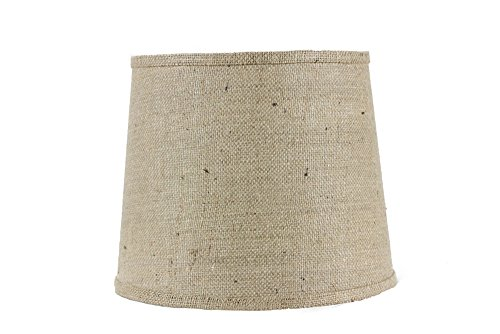 - AHS Lighting SD0967-12WD1 Natural Burlap with Applique Drum Lamp Shade with Fringe Washer, 12