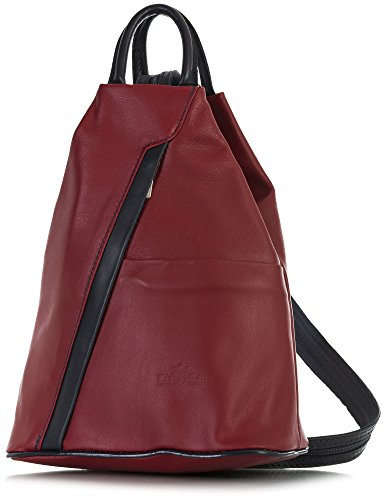 Deep Small LIATALIA ALEX Trim Bag Red Leather Rucksack Soft Convertible Strap Blue Unisex Italian Backpack Duffle 7r7wYq