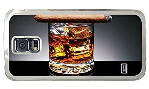 Hipster Samsung Galaxy S5 Case rugged cases whiskey cigar PC Transparent for Samsung S5