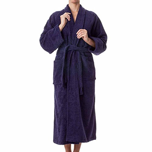- Unisex Terry Cloth Robe - 100% Long Staple Cotton Hotel/Spa Robes - Classic Robes For Men or Women,Navy Blue,X-Large