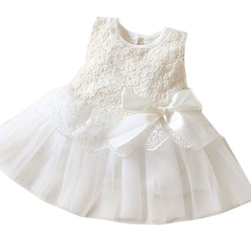 Baby Girls One Piece Floral Dress Lace Bowknot Party Ballet Skirts (90cm for 6-12 Month, white)