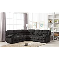 Classic Large Linen Fabric L Shape Sectional Recliner Sofa Couch (Charcoal)