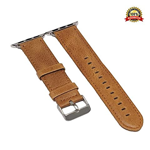 Crazy Horse Leather Apple Watch Band 38mm Replacement i Watch Bands Men / Women of Silver Stainless Steel Buckle, Washed Vintage Leather Strap for Serier 1, 2, 3, 2016, 2017 Sport / Edition (Turn Concrete Into Gold)