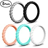 Silicone Wedding Ring for Women, Comfortable Stackable Single Thin Rubber Bands, Non-Toxic Sports Wedding Bands (5Mixed Colors, 7(17.3mm)) Review
