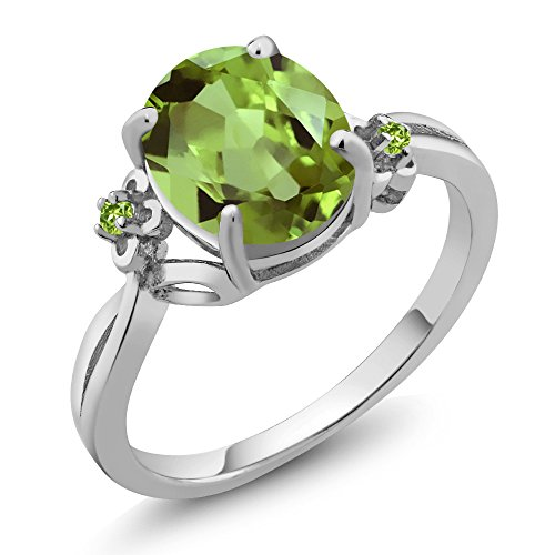 3.04 Ct Oval Green Peridot 14K White Gold Ring (Ring Size 5) by Gem Stone King