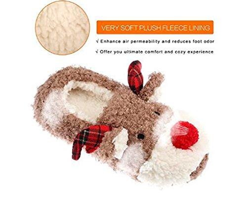 Slippers for Women, Cute Reindeer Animal Fluffy House Winter Ladies Slippers Shoes, Comfortable Non Skid Home Slippers by WAREN (Image #2)
