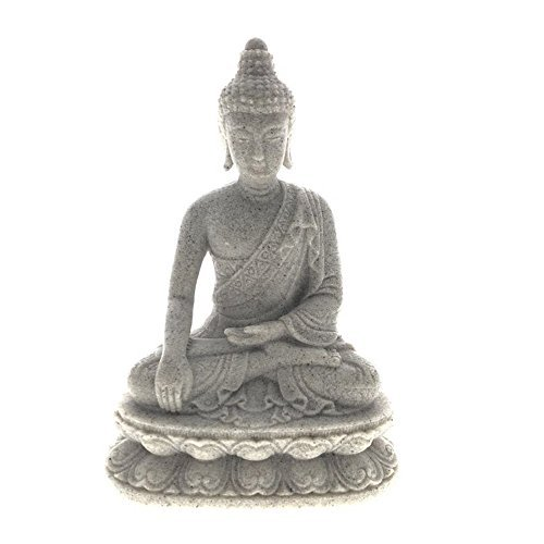 Emaciated Buddha Statue,Sand Stone Blessing Sitting Buddha Figurine,Great for Indoor Home Decoration Gifts- 6