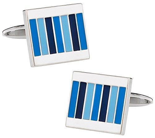 - Cuff-Daddy Enamel Shades of Blue Rectangular Cufflinks with Presentation Box