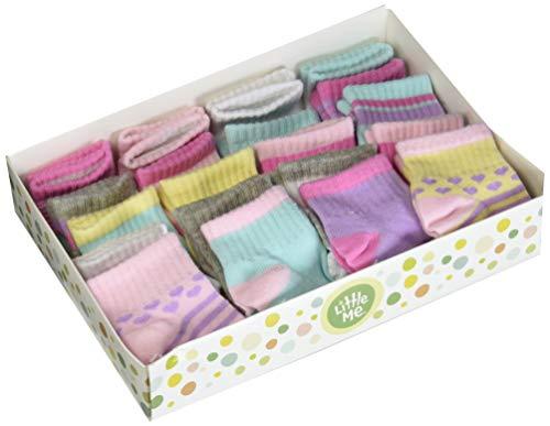 Little Me 20 Pair Pack Unisex Baby Infant Newborn Girls Anklet Socks in Gift Box Set, Sport, Multi, 0-12 12-24 Months