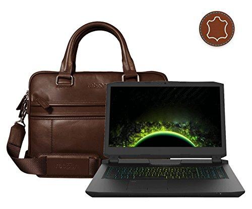reboon Echt-Leder Laptop-Tasche in Braun Leder für XMG ULTRA 17 L17xhj 17 3   17 Zoll   Notebooktasche Umhängetasche   Damen/Herren - Unisex   Premium Qualität Braun Leder