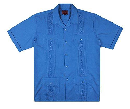 Maximos by R & B New Guayabera Kids Boys Cuban Latino Style Wedding Button Down Dress Shirt (4, Denim Blue)