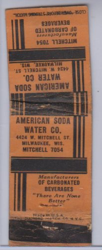 American Soda Water Co. Vintage Matchbook Cover