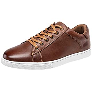 JOUSEN Men's Leather Sneakers Fashion Dress Sneaker Business Casual Shoes for Men (8,Red Brown)