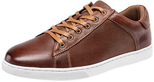 (JOUSEN Men's Leather Fashion Sneakers Business Casual Shoes for Men (9,Red Brown) )
