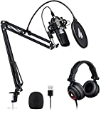 USB Microphone with Studio Headphone Set 192kHz/24 bit MAONO AU-A04H Vocal Condenser Cardioid Podcast Mic for Mac and…