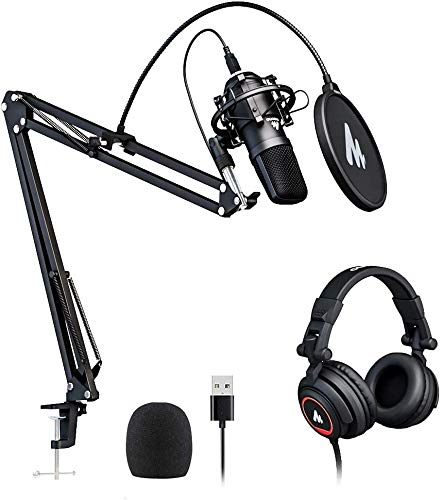 MAONO AU-A04PLUS USB Microphone with AU-MH601 Studio Monitor Headphones Bundle Streaming Podcasting Pack Plug and Play for Computer, YouTube, Music