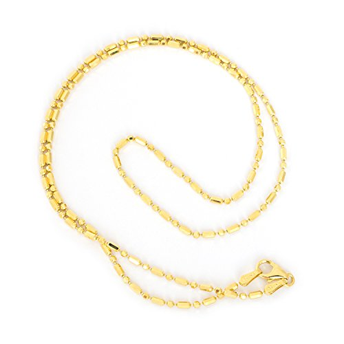 14k Yellow Gold 1.5mm Diamond Cut Bar and Bead Mezzaluna Chain Necklace, 20