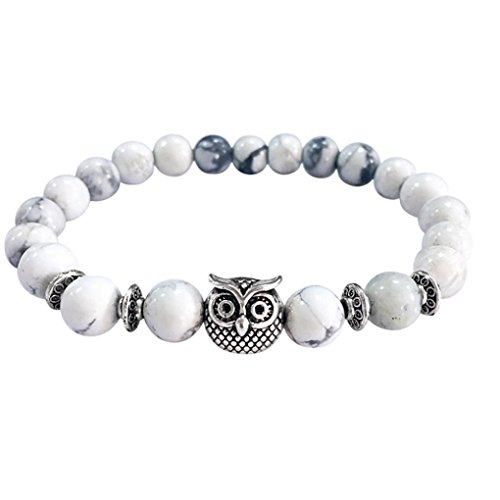 New! Laimeng Volcanic Bracelet Owl Bracelet Silver Bracelet Lava Stone Bead Bracelets (White)