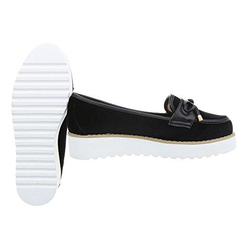 Ital-Design Women's Loafer Flats Flat Moccasins at Black JN-37 ijVfg