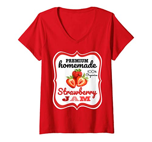 Quick Homemade Halloween Costumes For Women (Womens Cute Homemade Strawberry Jam Easy Lazy Halloween Costume V-Neck)