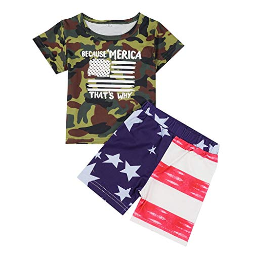 Transser Boy 4th Of July Outfit Camo T-shirt Tops + Flag Print Shorts Summer Comfort Clothes