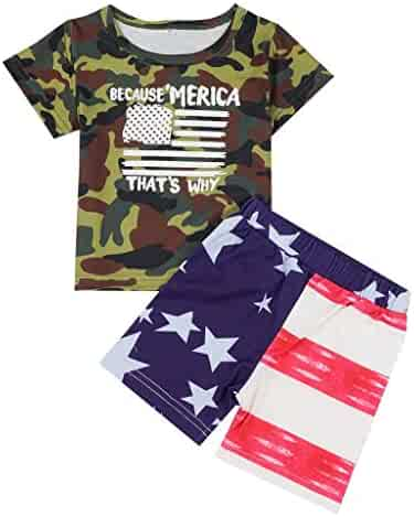 55a5d10c5 Fabal Kids Baby Boy Flag Camouflage Letter Print T-Shirt Tops Shorts 4th of  July