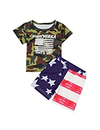 Fanteecy Baby Boys Girls 3PCS Outfit Set Bodysuit USA Flag Shorts with Headband 4th of July Clothes T-Shirt + Shorts Set
