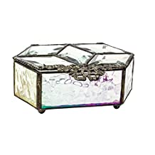 Vintage Diamond Filigree Iridescent Crystal Textured Glass Jewelry Box with Beveled Top