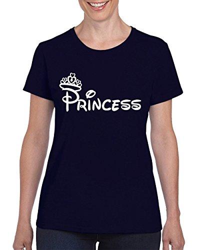 Minnie Princess Fashion Cool Disney T-shirt for Women Round Neck Tee (Disney Princess Couples)