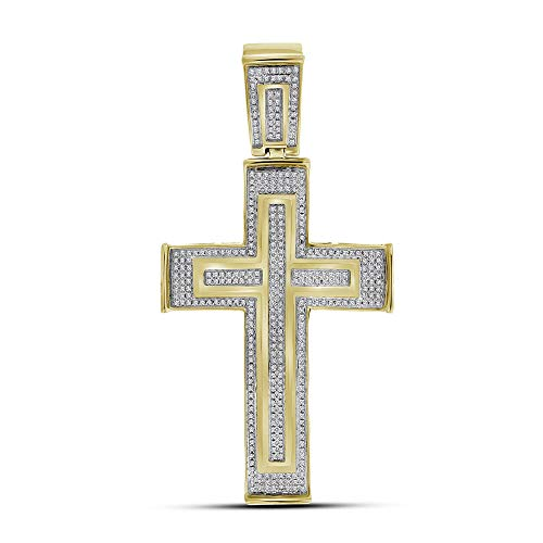 Jawa Jewelers 10kt Yellow Gold Mens Round Diamond Cross Crucifix Charm Pendant 7/8 Cttw