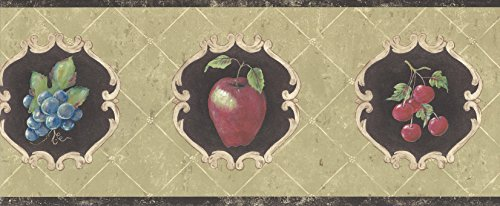 Wallpaper Border French Style Fruit Cherries Apples Pears Grapes on Brown, Green Vintage Chic Border by York