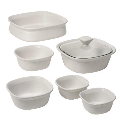 CorningWare Etch 7-Piece Bakeware Set, White Linen