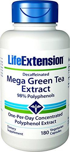 Life Extension Decaffeinated 98% Polyphenols Mega Green Tea Extract, 180 Count - Life Extension Antioxidant