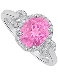 Oval Pink Sapphire and CZ Halo Twist Ring 1.75 CT TGW