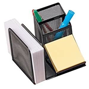 "Mesh Desk Organizer, 2 Pencil- 1 Envelope-Slot and Holds 3""x3"" Note Pad, Black CEB40205"