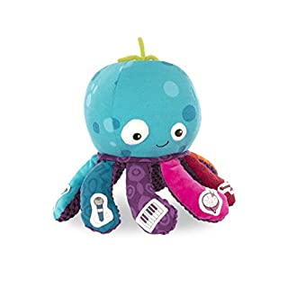 B. toys – Octopus Plush Toy – B. softies – Musical Stuffed Animal – Soft Baby Plush with 8 Instruments - Sensory Toys for Babies 10 Months +