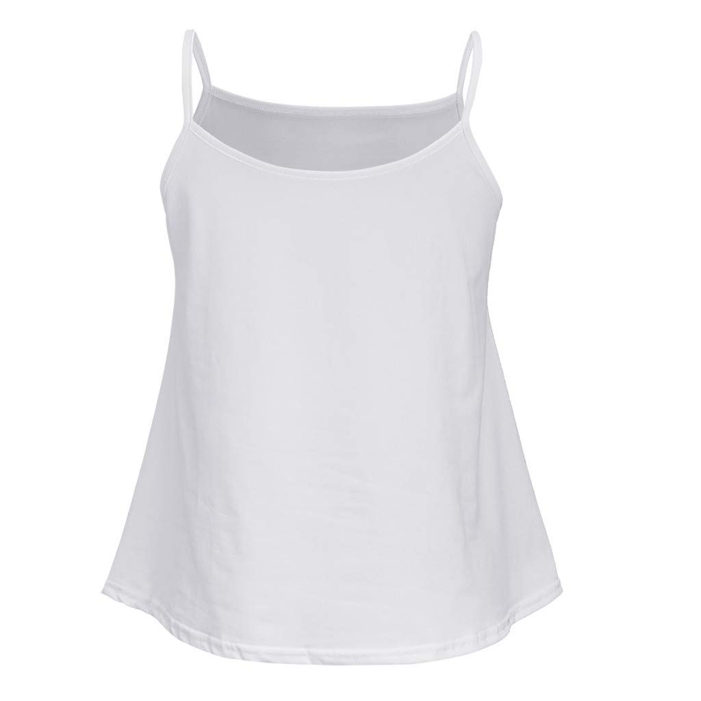 Fashion Womens Solid O-Neck Vest Tank Casual Sleeveless Camis Blouse Top White