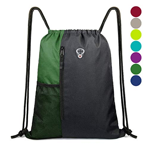 Drawstring Backpack Sports Gym Bag for Women Men Children Large Size with Zipper and Water Bottle Mesh Pockets (Black/Green)