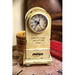 Manual Woodworkers & Weavers 104486 Clock - Under His Wings - Tabletop - Vintage Cream