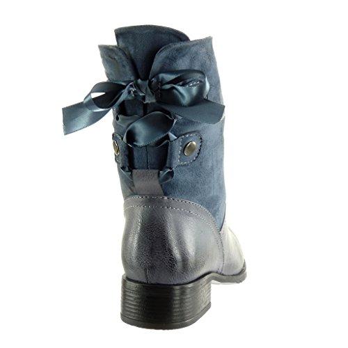 Angkorly Zapatillas de Moda Botines Cavalier Flexible Bimaterial Mujer Codones de Saten Tachonado Talón Tacón Ancho Alto 3.5 cm - Plantilla Forrada de Piel Azul