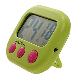 VKTECH Large LCD Digital Kicthen Timer Alarm Clock Kitchen Cooking Timer Reminder 0~99 Minutes 59 Seconds (Green)