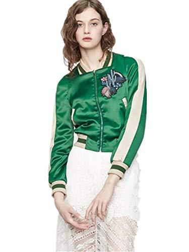 Verde Slim Hipster Fashion Lunga Casuale Giacche Manica Cerniera Primaverile Elegante Giacca Autunno Outerwear Battercake Cappotto Con Donne Donna Ricamo Tempo Classiche Libero Bomber Vintage Fit xq1wYW7ST